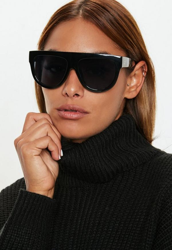 Black Flat Top Sunglasses by Missguided
