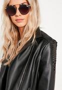 Black Round Frame T Bar Sunglasses