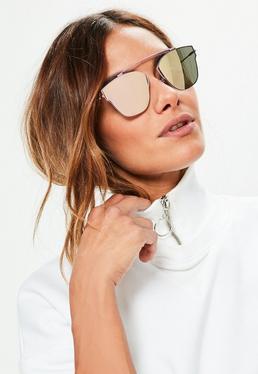 Verspiegelte Sonnenbrille mit Lila Rahmen