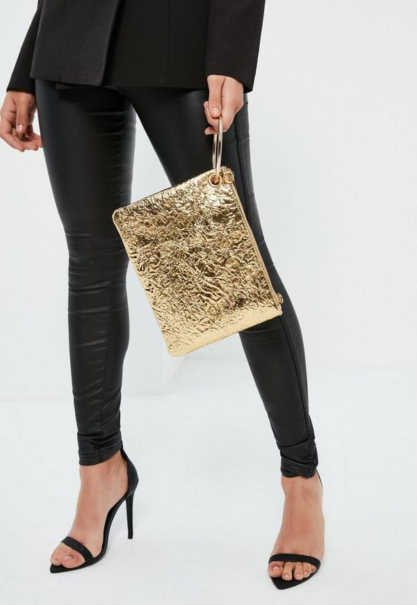 Gold Metallic Hoop Handle Clutch Bag