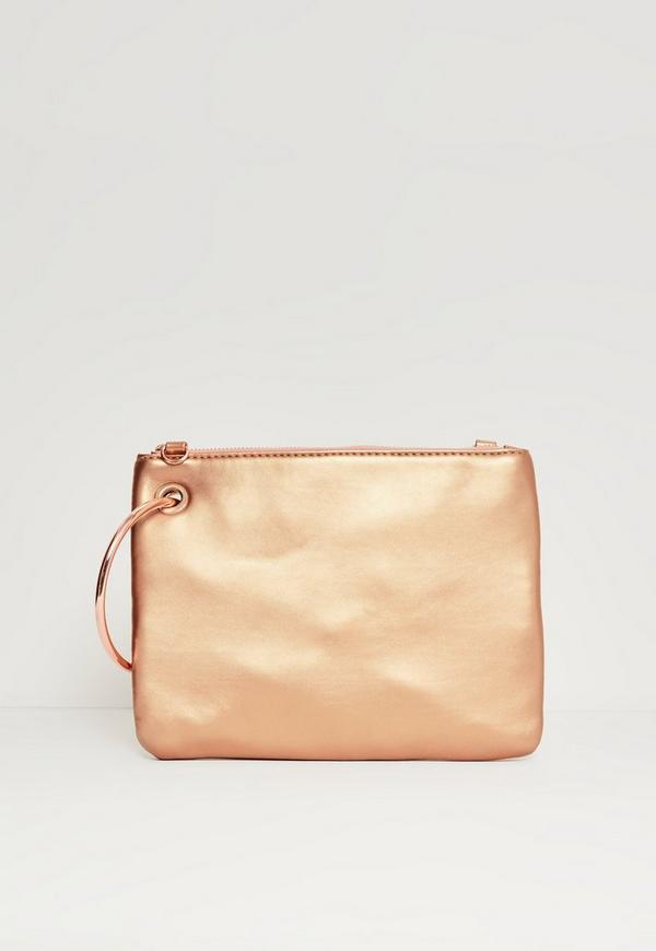 Rose Gold Metallic Hoop Handle Clutch Bag