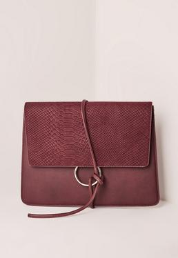 Burgundy Thread Through Clutch Bag
