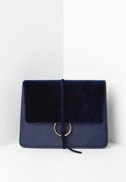 Navy Thread Through Clutch Bag