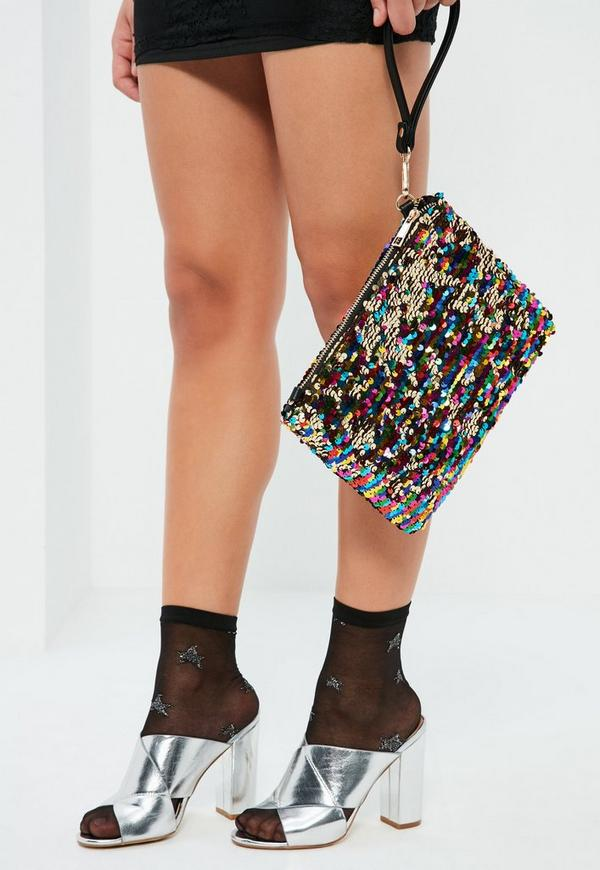 Black Sequin Zip Top Clutch Bag