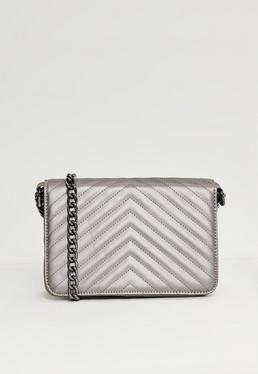 Silver Metallic Statement Chain Cross Body Bag