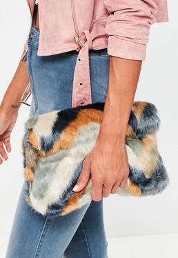 Green Faux Fur Clutch Bag
