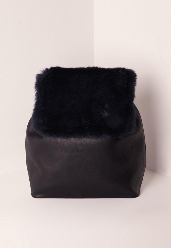 Faux Fur Mixed Fabric Backpack Blue