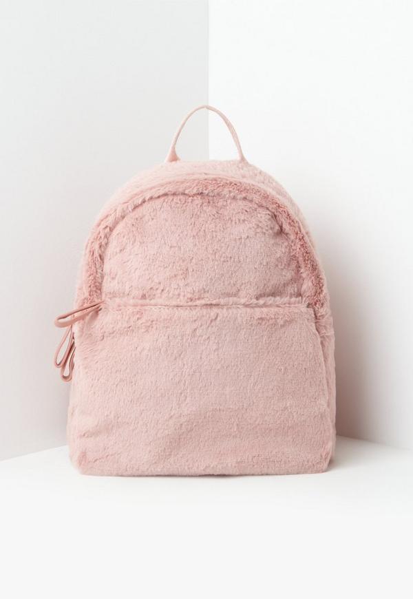 Pink Faux Fur Backpack