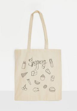 Einkaufstasche aus Leinen in Creme