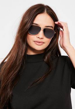 Black Classic Gold Frame Aviator Sunglasses