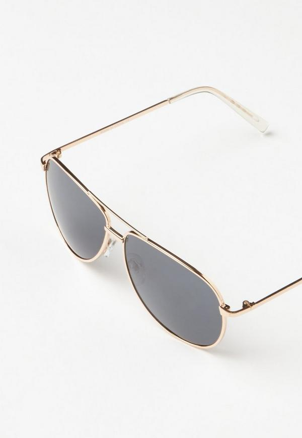 golden frame aviator sunglasses  Black Classic Gold Frame Aviator Sunglasses - Missguided