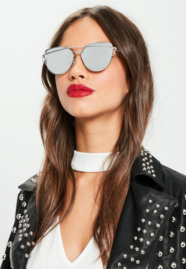 silver mirrored lenses cat eye sunglasses missguided. Black Bedroom Furniture Sets. Home Design Ideas