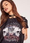 Black Lace Up Choker Necklace