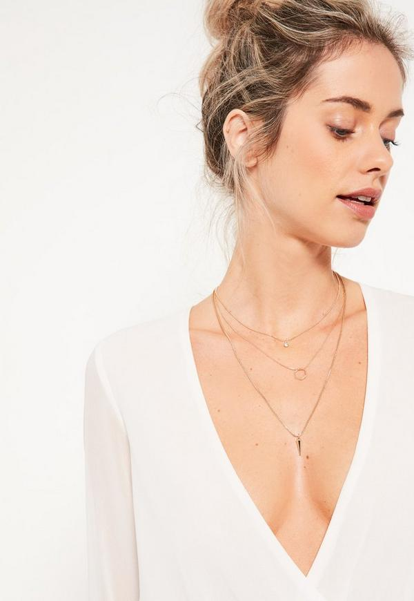 Gold Diamante Layered Necklace