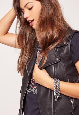 Matte Chunky Chain Bracelet Silver