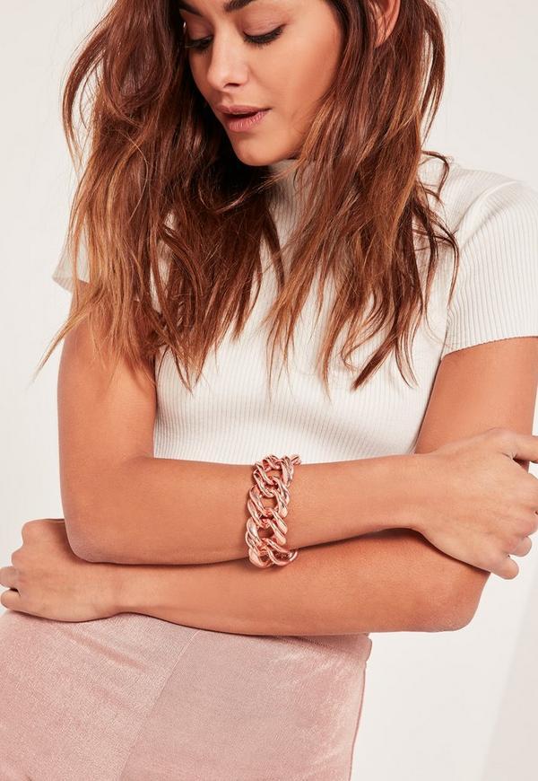 chunky chain bracelet rose gold