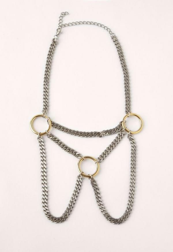 Silver Ring Detail Layered Necklace