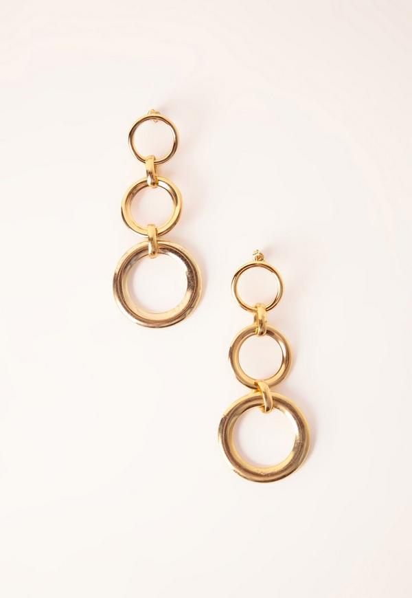 Layered Circle Drop Earrings Gold