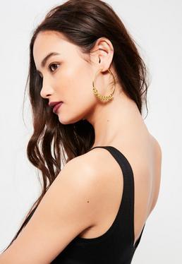 Gold Chain Detail Hoop Earrings