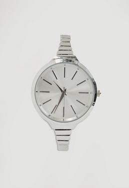 Schmale Armbanduhr in Silber