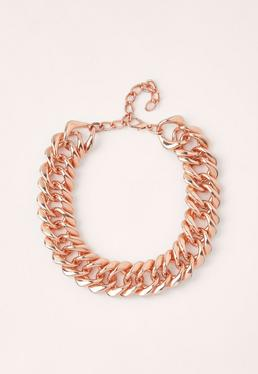 chunky chain necklace rose gold
