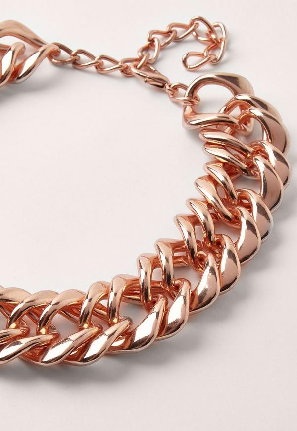 chunky chain necklace rose gold missguided