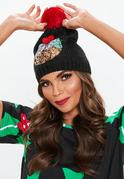 Black Sequin Christmas Pudding Beanie