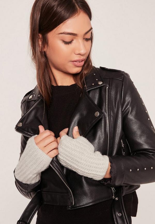 Soft Knit Mittens Grey