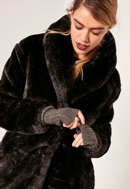 Soft Knit Mittens Dark Grey