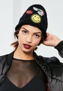 Bonnet noir côtelé avec patchs