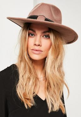 Brown Studded Fedora
