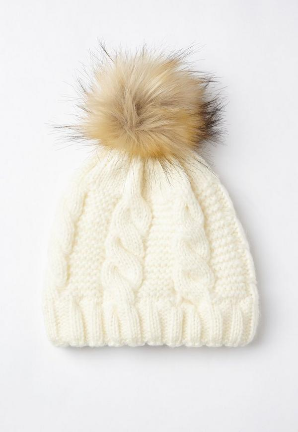 Cream Cable Knit Pom Pom Beanie