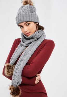 Grey Faux Fur Pom Pom Cable Knit Scarf