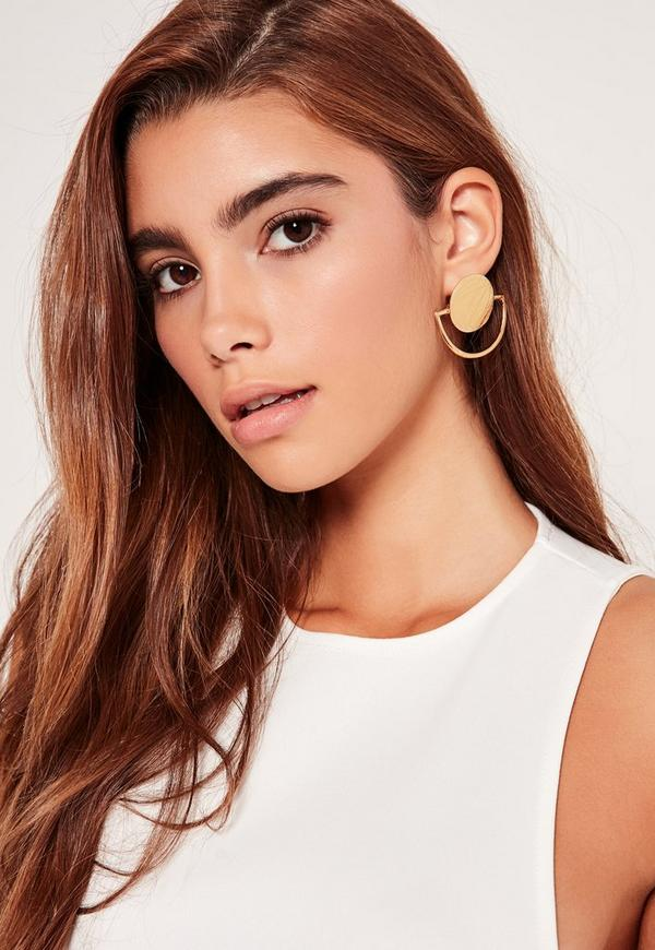 Circle Geometric Earrings Gold
