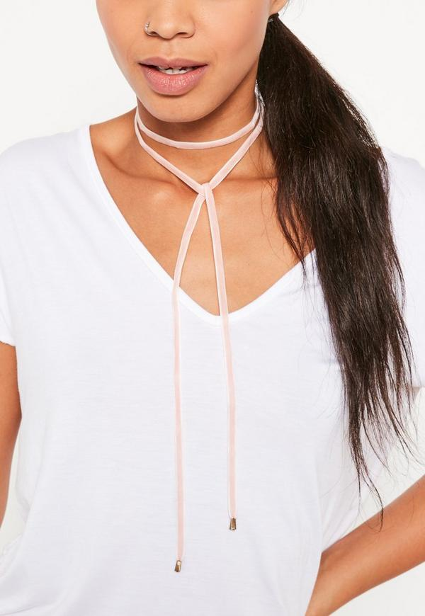 Pink Velvet Wrap Choker Necklace