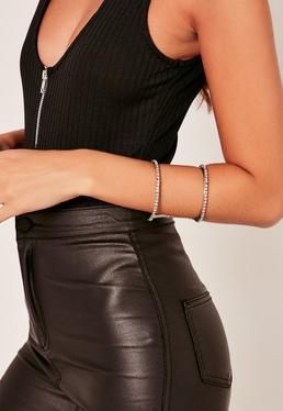 Diamante Cuff Bangle Silver