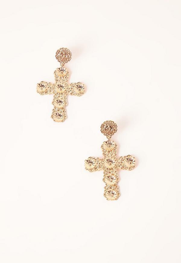 Ornate Cross Earrings Gold