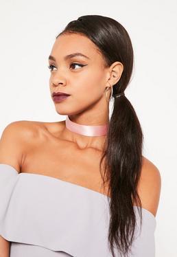 Pink Satin Choker Necklace