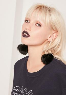 Black Pom Pom Drop Earrings