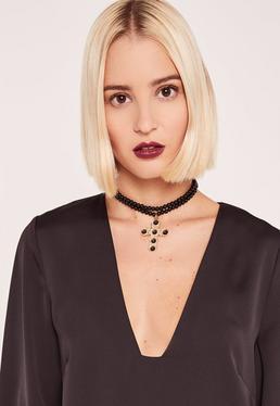 Black Ornate Cross Pearl Necklace