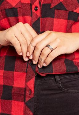 Simple Three Pack Ring Set Silver