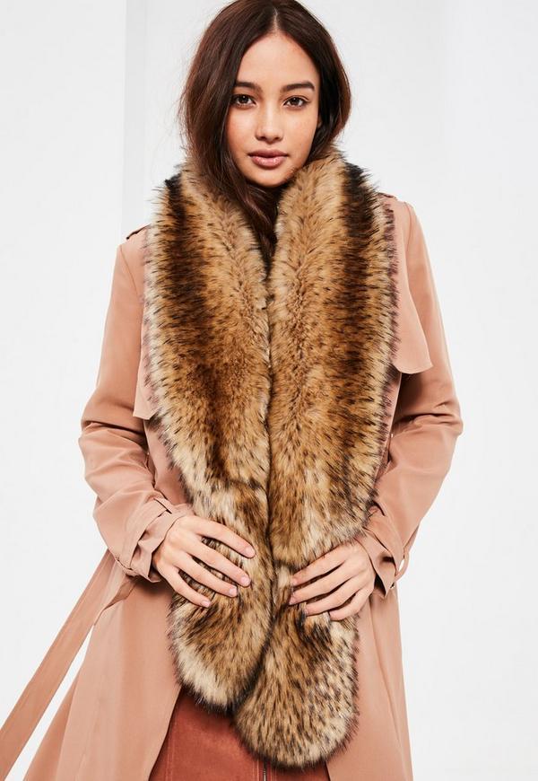 Brown Faux Fur Scarf