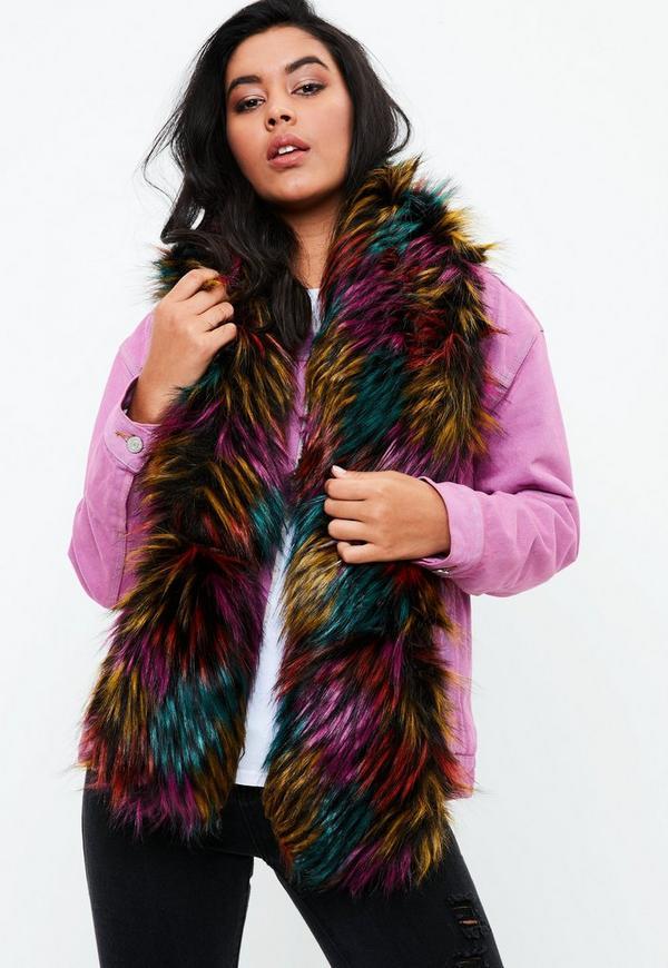 Faux Fur Multicoloured Scarf