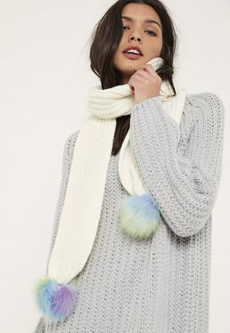 Schal mit Fake-Fur-Bommeln in Creme und Regenbogenfarben
