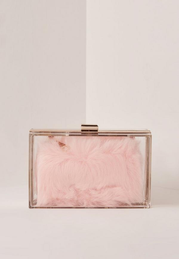 Pink Transpa Faux Fur Clutch Bag