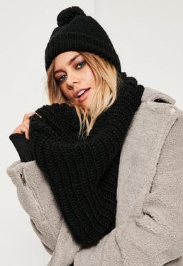 Black Knitted Snood & Hat Set