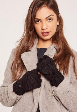 Black Knitted Mittens