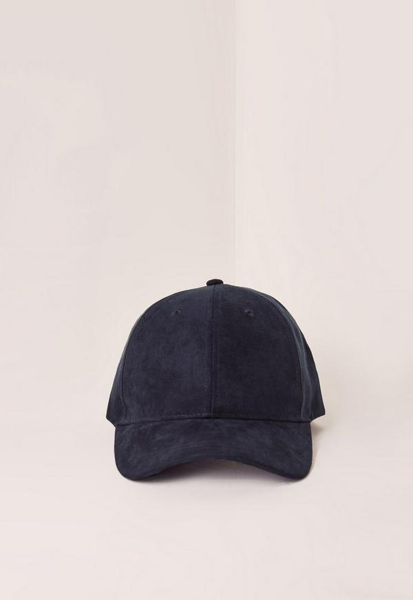 Navy Blue Faux Suede Baseball Cap