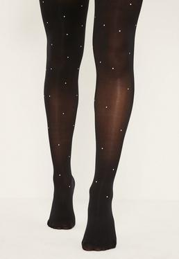 Black 50 Denier Silver Stud Tights
