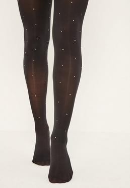 Black 50 Denier Gold Stud Stockings